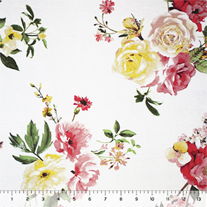 Big Island Floral on White Cotton Jersey Spandex Blend Knit Fabric