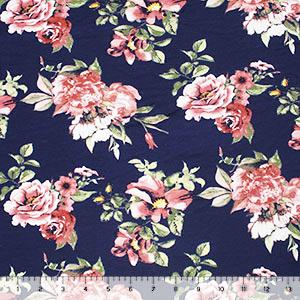 db117d59604 Dark Blush Floral on Navy Blue Cotton Jersey Spandex Blend Knit ...