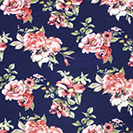 Dark Blush Floral on Navy Blue Cotton Jersey Spandex Blend Knit Fabric