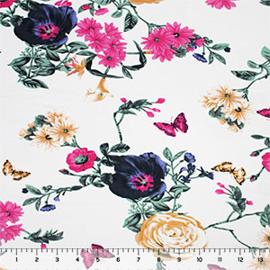 Violet Fuchsia Butterfly Floral on White Cotton Jersey Spandex Blend Knit Fabric