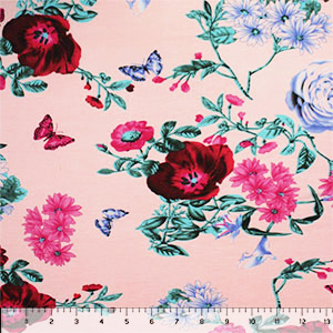 Lilac Fuchsia Butterfly Floral on Blush Cotton Jersey Spandex Blend Knit Fabric