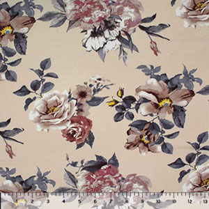 Cafe Gray Floral on Cream Cotton Jersey Spandex Blend Knit Fabric