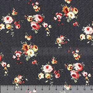 Rose Bouquets on White Dots Double Brushed Jersey Spandex Blend Knit Fabric