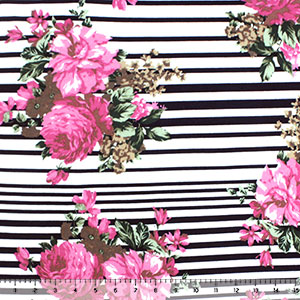 Pink Cocoa Bouquets on Navy Multistripe Cotton Jersey Spandex Blend Knit Fabric