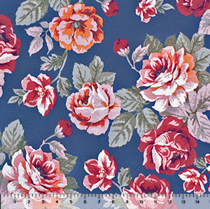 Pop Art Floral Bouquets on Denim Double Brushed Jersey Spandex Blend Knit Fabric