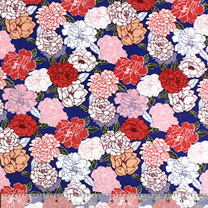 Retro Muted Floral Silhouettes on Blue Cotton Jersey Spandex Blend Knit Fabric