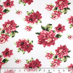Faded Red Pink Floral on White Cotton Jersey Spandex Blend Knit Fabric