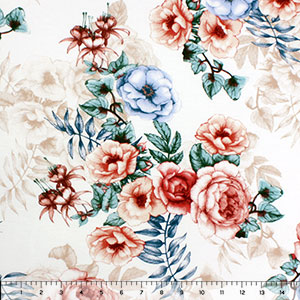 Clay Teal Drawn Floral on Ivory Cotton Jersey Spandex Blend Knit Fabric