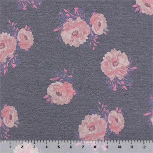 Vintage Pink Rosy Floral on Heather Charcoal Cotton Jersey Spandex Blend Knit Fabric
