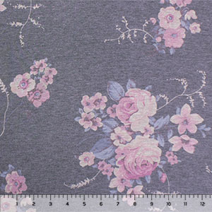 Vintage Lilac Blue Floral Bouquets on Heather Charcoal Cotton Jersey Spandex Blend Knit Fabric