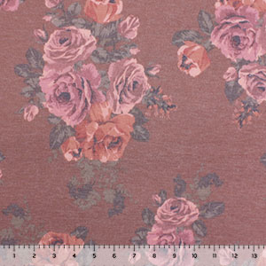 Vintage Mauve Red Floral on Heather Rust Cotton Jersey Spandex Blend Knit Fabric