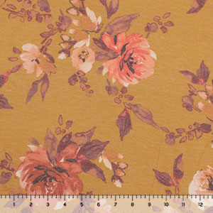 Vintage Coral Mauve Floral on Mustard Cotton Jersey Spandex Blend Knit Fabric