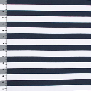 Navy Blue and White Stripe Cotton Spandex Blend Knit Fabric