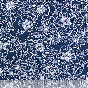 White Drawn Floral Outlines on Navy Cotton Jersey Spandex Blend Knit Fabric