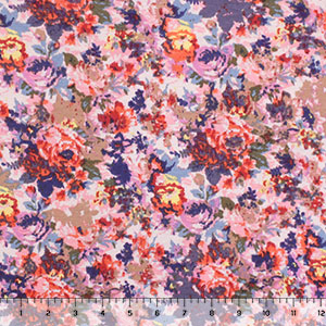 Muted Floral Garden Cotton Jersey Spandex Blend Knit Fabric
