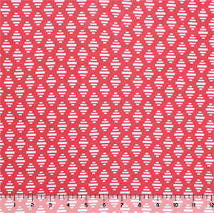 Mod Diamond Bars on Coral Cotton Jersey Spandex Blend Knit Fabric