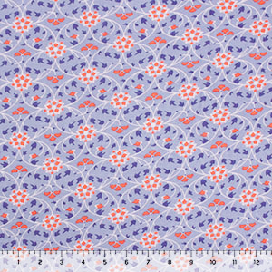 Coral Mod Petals on Blue Cotton Jersey Spandex Blend Knit Fabric