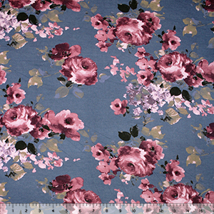 Merlot Mauve Painted Roses on Steel Cotton Jersey Spandex Blend Knit Fabric