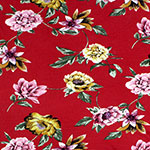 Gold Pink Floral on Poppy Red Cotton Jersey Spandex Blend Knit Fabric