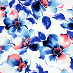 Big Pink Blue Watercolor Floral Double Brushed Jersey Spandex Blend Knit Fabric