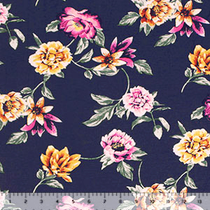Marigold Fuchsia Floral on Navy Cotton Jersey Spandex Blend Knit Fabric