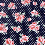 Dusty Pink Bouquets Pin Dots on Navy Cotton Jersey Spandex Blend Knit Fabric