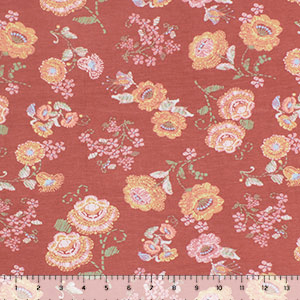 Stitched Yellow Floral on Chalk Clay Cotton Jersey Spandex Blend Knit Fabric