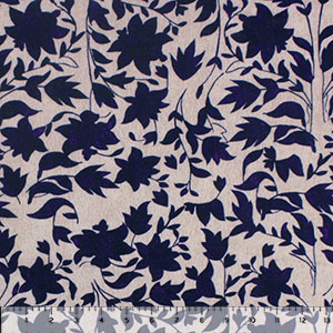 Wedgewood Blue Floral on Vintage Taupe Cotton Jersey Spandex Blend Knit Fabric