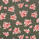 Dusty Red Bouquets Pin Dots on Olive Cotton Jersey Spandex Blend Knit Fabric