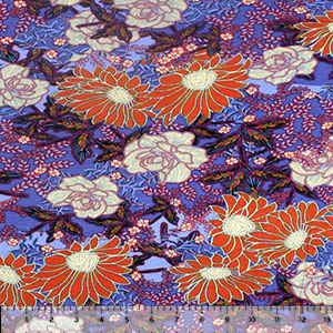 Orange Botanical Floral on Blue Cotton Jersey Spandex Blend Knit Fabric