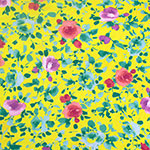 Pinky Blue Watercolor Floral on Lemon Cotton Jersey Spandex Blend Knit Fabric