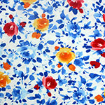 Orange Red Watercolor Floral on White Cotton Jersey Spandex Blend Knit Fabric