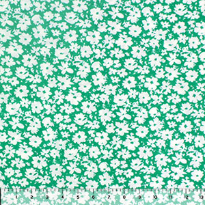 White Daisy Silhouettes on Kelly Green Cotton Jersey Spandex Blend Knit Fabric