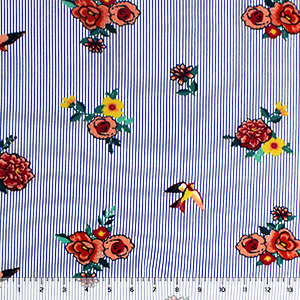 Bright Floral Bouquets & Birds on Pinstripes Double Brushed Jersey Spandex Blend Knit Fabric