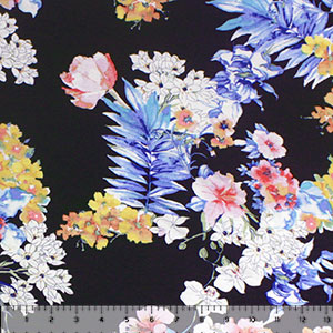 Blue Pink Tropical Hibiscus Palms on Deep Navy Cotton Jersey Spandex Blend Knit Fabric