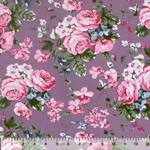 Pink Blue Rose Floral on Dusty Violet Double Brushed Jersey Spandex Blend Knit Fabric
