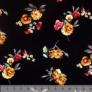 Marigold Aqua Floral on Black Double Brushed Jersey Spandex Blend Knit Fabric