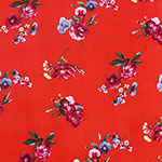 Magenta Blue Floral on Red Double Brushed Jersey Spandex Blend Knit Fabric