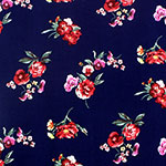 Red Lemon Floral on Navy Double Brushed Jersey Spandex Blend Knit Fabric