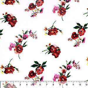 Brick Fuchsia Floral on White Double Brushed Jersey Spandex Blend Knit Fabric