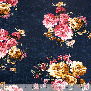 Antiqued Gold Magenta Roses on Navy Double Brushed Jersey Spandex Blend Knit Fabric
