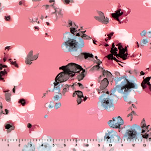 Burgundy Blue Watercolor Floral on Pink Double Brushed Jersey Spandex Blend Knit Fabric