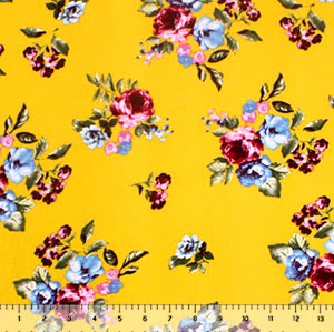 Fuchsia Blue Floral on Mustard Double Brushed Jersey Spandex Blend Knit Fabric