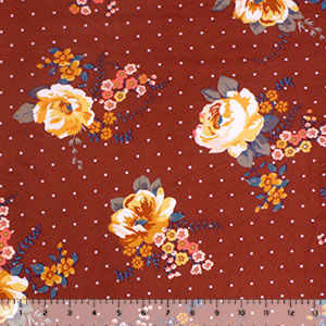 Coral Mustard Retro Floral Dots on Rust Double Brushed Jersey Spandex Blend Knit Fabric