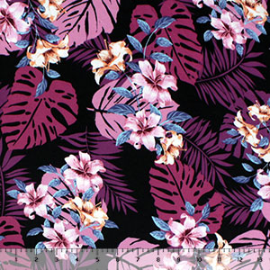 Pink Purple Hibiscus and Palms on Black Double Brushed Jersey Spandex Blend Knit Fabric