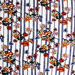 Colorful Floral on Navy Vertical Stripes Double Brushed Jersey Spandex Blend Knit Fabric