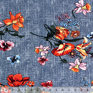 Colorful Floral on Textured Navy Double Brushed Jersey Spandex Blend Knit Fabric