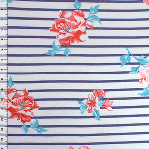 Coral Pink Tropical Hibiscus on Denim Stripes Cotton Jersey Spandex Blend Knit Fabric