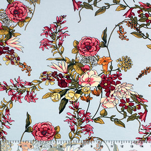 Burgundy Orange Botanical Floral on Ice Blue Cotton Jersey Spandex Blend Knit Fabric