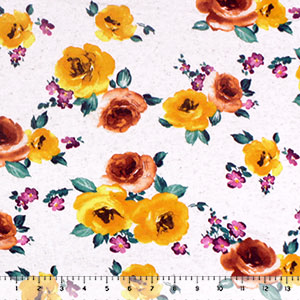 Marigold Caramel Floral on Oatmeal Cotton Jersey Spandex Blend Knit Fabric